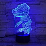 Lámpara 3D Parque de dinosaurios único Impresionante cambio de color Decoración Mesita de noche Ilusión 3D Lámpara de luz nocturna LED