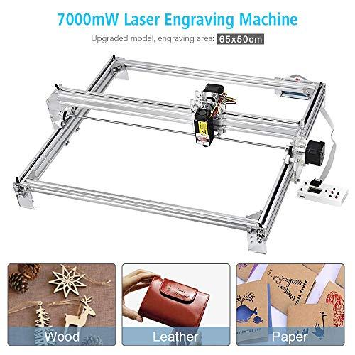 TOPQSC Laserengraver-Graviermaschine, CNC-Fräser-Holzschnitzerei-Gravier-Schneidemaschine, DIY-Drucker-Logo-Bild-Markierung, 2-Achsen-Tischdrucker für Leder-Holz-Plastik, 65x50cm, 7000MW