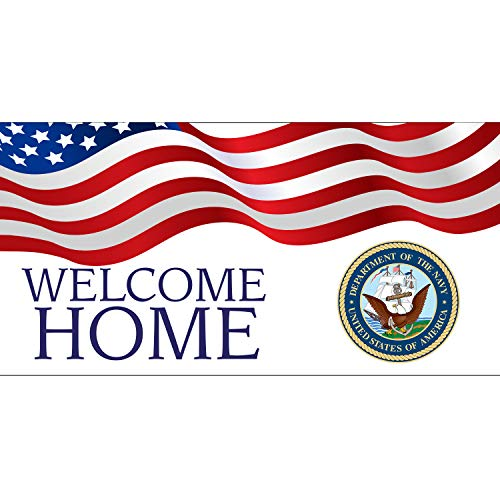BANNER BUZZ MAKE IT VISIBLE Welcome Home Department of The Navy USA Banner 11 Oz High Quality Vinyl PVC Flex Banners with Hemmed Edges & Metal Grommets Free (5' X 3') -  BannerBuzz