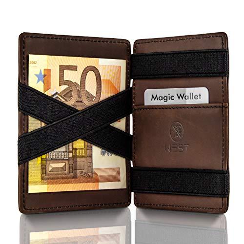 WEST - Magic Wallet (Braun-Schwarz) - Das ORIGINAL (kleines Münzfach) - inklusive Edler Geschenkbox - Geldbeutel mit Münzfach - Der perfekte Begleiter für unterwegs - RFID Datenschutz