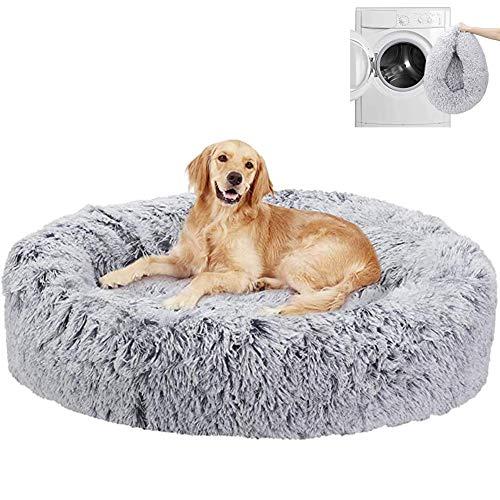 Machine Washable Calming Dog Bed Donut Extra Large Jumbo Anxiety Comfy Fluffy Sofa Bedding Mattress Orthopedic Wicker Crate Pad Cushion Soft XL Labrador Round Cave grey ZZAY