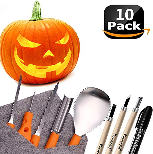 Powerful 10 PCS Pumpkin Carving Tools Kit Knife Set for Kids Professional DIY Halloween Jack-o-Lantern Pumpkins Candles Decorations-Most Useful Carving Essentials