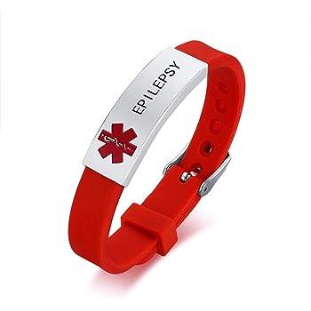Personalizado Personalizado Grabado Rojo Goma Medic Alerta Médica Pulsera medaa 69