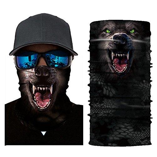 Colorful Damen/Herren Multifunktionstuch | Sturmmaske | Bandana | Schlauchtuch | Halstuch für Motorrad Fahrrad Ski Paintball Gamer Karneval Kostüm 3D Tiere Maske (E)