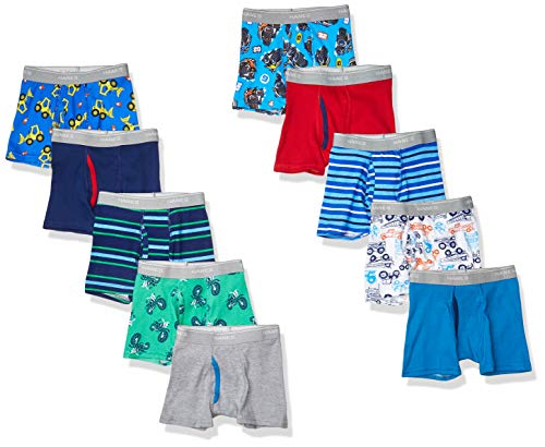 Hanes Boys' Tagless Super Soft Boxer Briefs 10-Pack, Prints/Stripes/Solids Assorted, 2/3