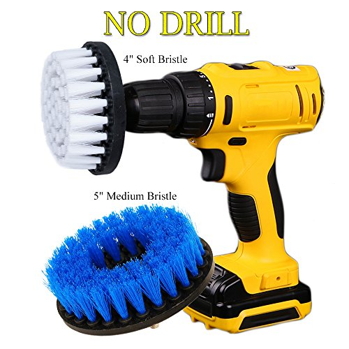OxoxO Drill Brush - Soft Medium Power Drill Attachment Scrub Cleaning Brush Kit for Bathroom Showers Tile Grout Kitchen Pool Glass Carpets Upholstery Leather