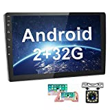 [2G+32G] Upgrade Hikity Double Din Android Car Stereo 10.1 Inch Touch Screen Radio Bluetooth WiFi GPS FM Radio Support Android/iOS Phone Mirror Link with Dual USB Input & Backup Camera