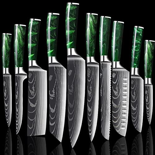 10 unids Cuchillos de cocina Set Damacus Pattern Japonés Chef Cuchillos Set Carne Cleaver Fruit Fruit Cuchillo Cristmas Regalo (Color : Green 10pcs)