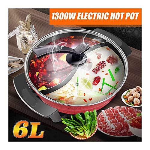 HRRH Olla eléctrica eléctrica Antiadherente, 220V 1300W 6L Olla eléctrica eléctrica 32Cm Sopa de Cocina Olla de Cocina Antiadherente para ollas de inducción Olla de Cocina