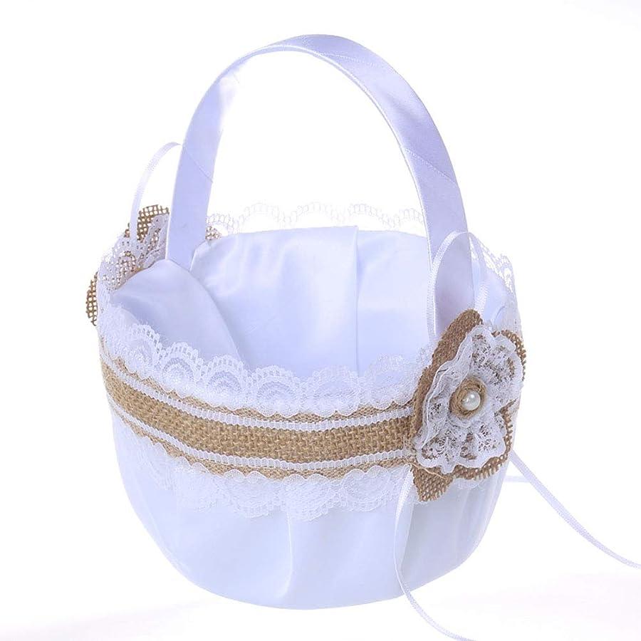 収束誰か世辞Amosfun 結婚式の用品ウェディングバスケットフラワーガール花嫁レースリボンバスケット用結婚セレモニーパーティーの装飾