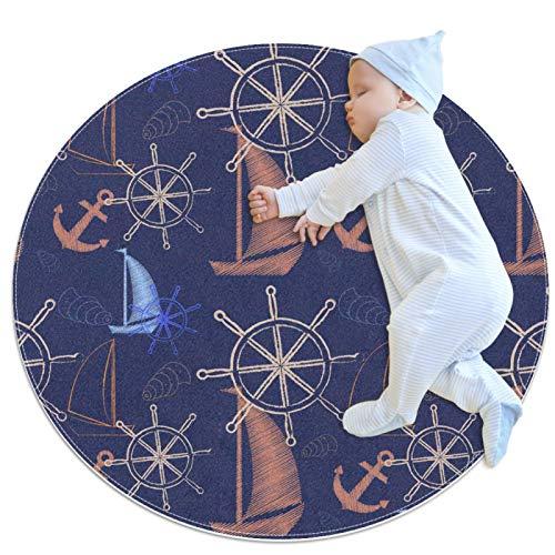 Alfombra Redonda Brújula Barco Ancla Marina Alfombra Redonda decoración Arte Antideslizante niños Lavables a máquin Suave Sala Estar Dormitorio de Juegos para 100x100cm
