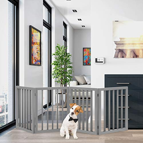PETMAKER Freestanding Pet Gate - Wooden Folding Fence for Doorways, Halls, Stairs & Home - Step Over Divider - Great for Dogs & Puppies
