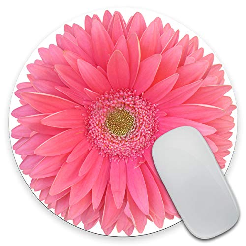 Amcove Mouse Pad, Isolatd Bright Pink Gerbera Daisy Flower Round Mousepad, Non-Slip Rubber Base, Customized Gaming Mouse Mat for Laptop, Computer & PC