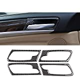 YKANZS Etiqueta engomada del Marco de la manija de la Puerta Interior del Coche 4 Piezas Textura de Fibra de Carbono, para BMW X5 E70 X6 E71 2008-2013 Accesorios