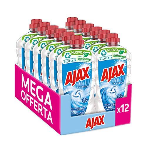 Ajax Detersivo Pavimenti Classico Freschezza e Pulito, Detergente Liquido Multiuso, Agisce Contro Ogni Tipo di Sporco, senza Risciacquo, Formula Biodegradabile al 93%, 12 x 950ml