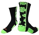 TCK Lucky Clover Crew-Socken, Schwarz/Neongrün, Größe S