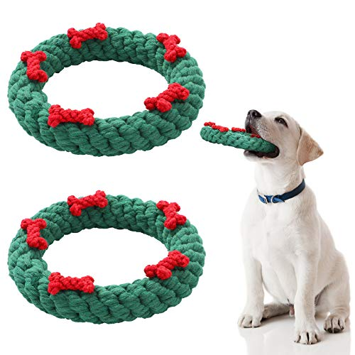 2 Pieces Christmas Dog Chew Toys Pet Durable Chewing Toys Puppy Teething Toys Chewing Ropes Tooth Cleaning Toy for Small and Medium Dogs