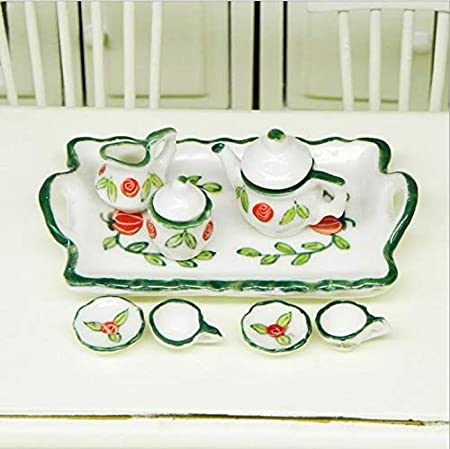 NW 1 Set 6Pieces Ceramics Tea Cup Set Lovely Dollhouse Decoration Set Dollhouse Kitchen Accessories #24