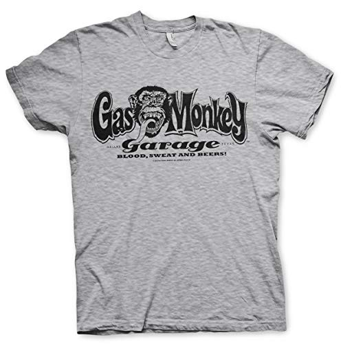 Offizielles Gas Monkey Garage Logo Herren T-Shirt Gr. XL, grau meliert