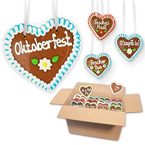 10x Lebkuchenherz im Mischkarton 12cm - versch. Oktoberfest Sprüche | Wiesnherzen aus Lebkuchen Lebkuchenherzen Wiesn Oktoberfest Herz von LEBKUCHEN MARKT