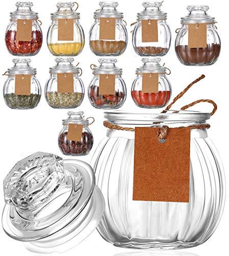 Praknu 12 Gewürzgläser Set mit 12 Etiketten - 80ml Klein - Luftdichte Deckel - Spülmaschinenfest - Dickes Glas
