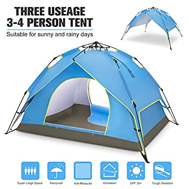 BATTOP 4 Person Family Camping Tent, 3 Usages Double Layer Waterproof Sun Shelter, Automatic Instant Pop Up Tents for Outdoor (Blue) (Blue)