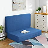 PrimaSleep 4 Inch Tri Folding Memory Foam Topper, Foldable, Guest Bed,Full Size, Blue