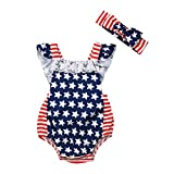 2Pcs Newborn Baby Girls American Flag Romper Headband Outfits Sleeveless Clothes (Blue, 70CM)