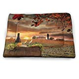 """Crate Bed Pet Mat Winery Decor Collection Washable, Durable Dog Bed White Wine with Barrel on Vineyard at Sunset in Chianti Tuscany Italy Landscape Print for Pets Sleeping Orange Green (23""""x15.5"""")"""