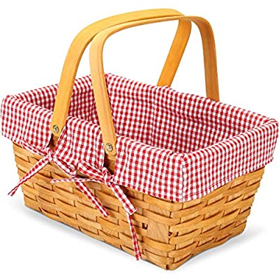 G GOOD GAIN Woodchip Picnic Basket with Double Folding Handles,Natural Hand Woven Easter Basket,Easter Eggs and Easter Candy Basket,Bath Toy and Kids Toy Storage,Gift Packing Basket.
