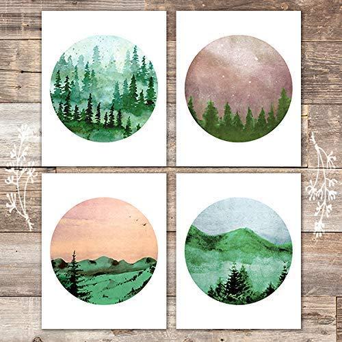 Watercolor Forest Landscapes Art Prints (Set of 4) - Unframed - 8x10s