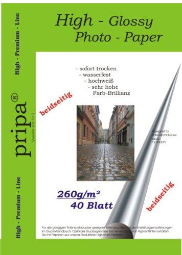 pripa BEIDSEITIG 40 Blatt Fotopapier DIN A4 260g/qm - beidseitig Glossy (glaenzend) - sofort trocken - wasserfest - hochweiß - sehr hohe Farbbrillianz Fuer Inkjet Drucker (Tintenstrahldrucker).