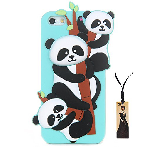 CASESOPHY 3D Soft Silicone Bamboo Panda Case for Apple iPhone 5/5s/SE 3D Cartoon Cute Lovely Protective Bumper Gift for Boys Kids Teens Girls Women Boys