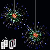 2 Pack Starburst Lights 200 LEDs Firework Lights Copper LED Christmas Lights, 8 Modes Fairy Light with Remote, Hanging Ball Light for Christmas Bedroom Party Indoor Outdoor Decoration (Colorful)