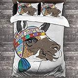Lichenran 3D Juego Funda De Diseño Personalizado,Llama Alpaca con un Sombrero de Color étnico Perú,Ropa de Cama Set 1 Edredón 2 Fundas de Almohada Microfibra jueg,135 * 210cm*1