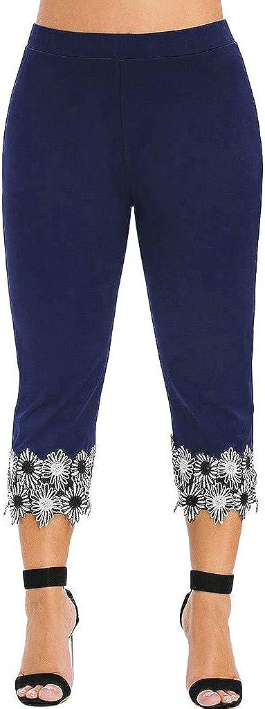 FengGa Capri Yoga Leggings for Women High Waist Plus Size Fashion Casual Solid Applique Elastic Waist Yoga Pants