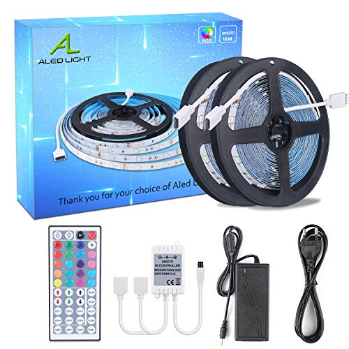 ALED LIGHT LED Streifen 10M(2x5M), RGB LED Strip 5050 SMD 300(2x150) LED Band, LED Lichtband Nicht Wasserfest mit 44 Tasten Fernbedienung 12V Netzteil für Haus, Raum, Party, Hochzeit, Dekoration