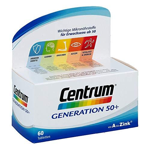 Centrum Generation 50+ – Hochwertiges Nahrungsergänzungsmittel mit Mikronährstoffen – Für Best Ager ab 50 Jahren – Vitamine, Mineralstoffe, Spurenelemente – 1 x 60 Tabletten