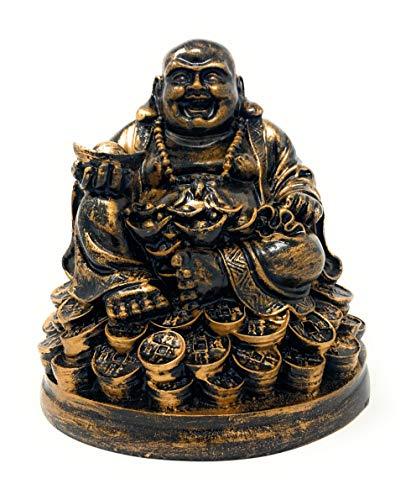 Petrichor 5 inches Handmade Laughing Buddha Sitting on Lucky Money Coins Carrying Golden Ingot for Feng Shui Good Luck & Happiness (Rustic Golden)