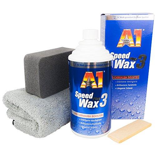 A1 Speed Wax Plus 3, 500 ml im Set mit Auftragsschwamm & DFT Microfasertuch