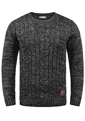 !Solid Philemon Herren Winter Pullover Strickpullover Grobstrick Pullover Zopfstrick mit Rundhalsausschnitt, Größe:XL, Farbe:Black (9000)