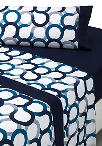SABANALIA - Juego de sábanas Estampadas Aros (Disponible en Varios tamaños y Colores), Cama 160, Azul
