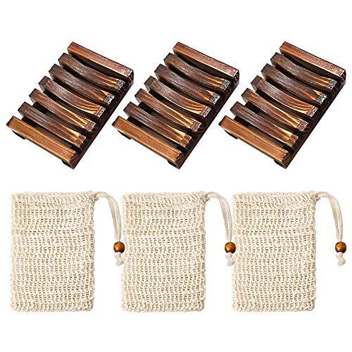 Zasiene Porta Sapone in Legno 3 Pezzi Scatola di Sapone Porta saponetta Supporto saponetta con 3 Pezzi Sacchetti per Sapone in sisal per Bagno Doccia Cucina Sapone