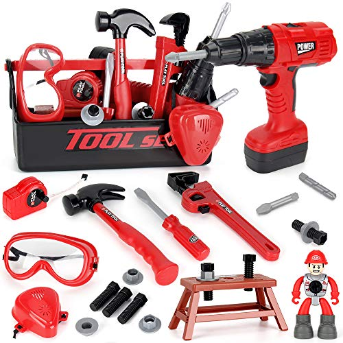 LiDi RC Kids Tool Set-Contains Tool Box and Toy Hammer, Goggles, Power Drill and More Play Tools,29 PCS Non-Toxic Kids Toy Tool Construction Set for Ages 3 and Up Boys and Girls.
