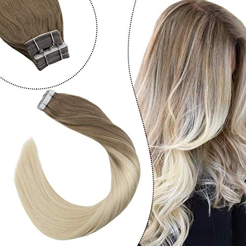 Ugeat Extensiones de Cabello Natural Humano Remy Brazilian Humanas Invisible Adhesivas Tape in Hair 16 Pulgadas 50g/20pcs Balayage Brown Omber Blonde