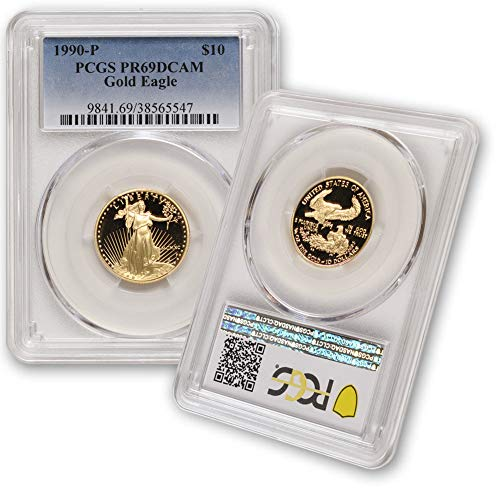 1990 P 1/4 oz Proof Gold American Eagle PR-69 Deep Cameo by CoinFolio $10 PR69DCAM PCGS