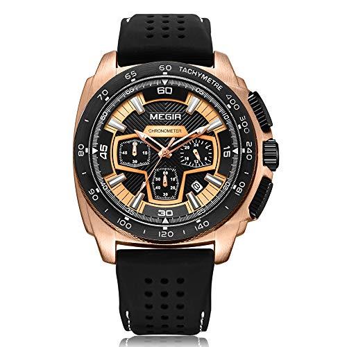 MEGIR Men's Sport Analog Quartz Watch Chronograph Waterproof with Rose Gold Case Silicone Band Outdoor