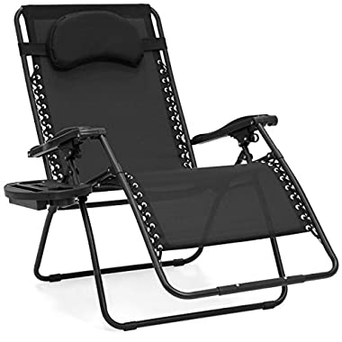 Best Choice Products Oversized Zero Gravity Outdoor Reclining Lounge Patio Chair w/Cup Holder - Black
