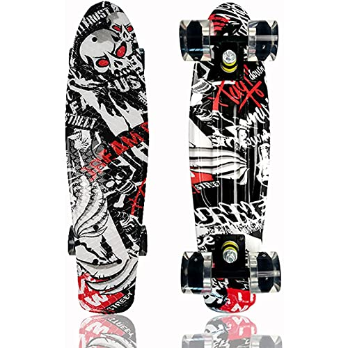 LangCher Skateboards Completo Montaje Retro Retro con LUZ Colorida LED LIGHTES PLÁSTICA Mini Cruiser Skateboard para niños Adultos Juveniles (Color : B)