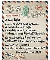 イタリアの メッセージ毛布のスロー 娘/息子へ お父さんから 航空郵便 文字を印刷しました パーソナライズされました フランネルキルト ソファーベッドチェアのために,To daughter,150*220cm